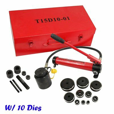15T Hydraulic Knockout Punch Electrical Hand Pump W/ 10 Dies Driver Hole Tool