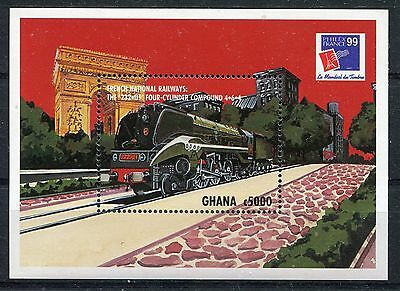 Ghana 1999 Philex France. Railways MS #2 MNH