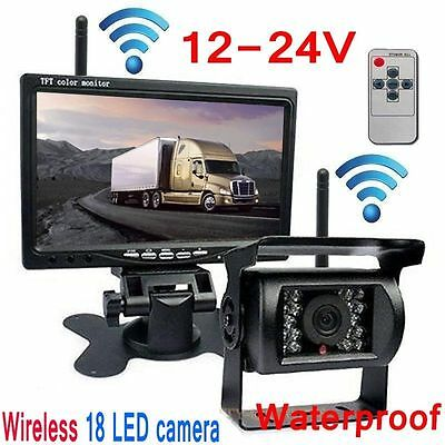 """Built-in Wireless Night Vision Rear View Camera 7"""" Monitor For Truck/Trailer/Van"""