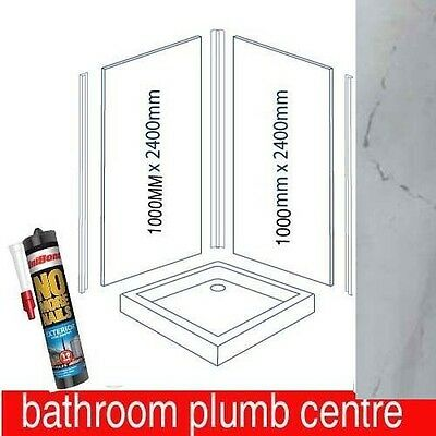 Bathroom Shower Wall Panelling Kit Bathroom panels grey marble with trims