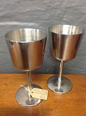 Vintage Wine Glass Goblets / Cups Pair Brushed Steel Goblets