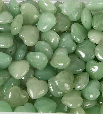 Pack of 10 Jade Heart 12mm Beads for Jewellery Making (T15L)