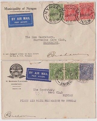 Stamps various on boomerang cover pair Narromine to Nyngen signed by pilot