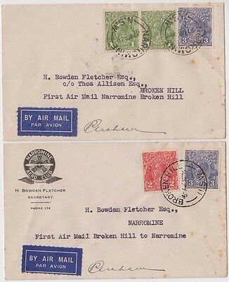 Stamps various on boomerang cover pair Narromine Broken Hill signed by pilot