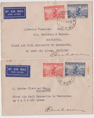 Stamps various on boomerang cover pair Narromine Coonamble signed by pilot
