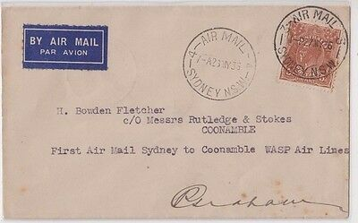 Stamps 5d brown KGV on cover Sydney to Coonamble 1st flight signed by pilot