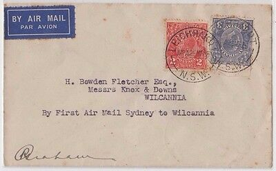 Stamps 2d & 3d KGV cover Leichhardt to Wilcannia 1st flight signed by pilot