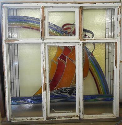 """OLD ENGLISH LEADED STAINED GLASS WINDOW Rainbows & Sail Boat 62""""w x 63.75""""h"""
