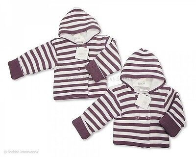 Neutral Double Knit Baby Pram Coat Cardigan Heather Stripes  by Nursery Time