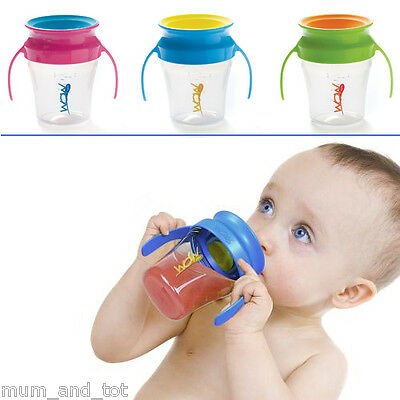 Wow Baby Cup Handles Sippy Trainer No Spill Drinking Drink Beaker Lid 207mL 9m+