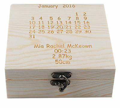 Personalized Wooden Calendar Box Baby Keepsake Special Gift Memory Box Trinket
