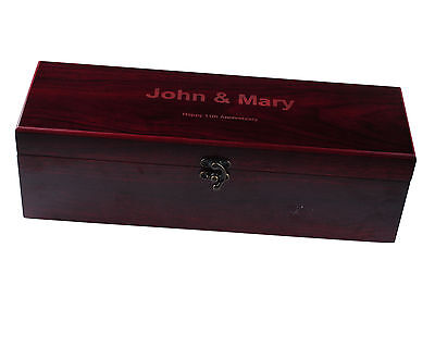 Personalized Engraved Wooden Wine Box Gift Wedding Anniversary W/ Wine Tools