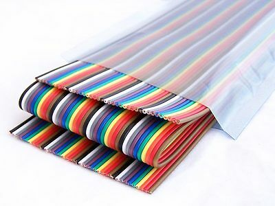 40 Way Flat Color Rainbow Ribbon Cable 40-pin 1.27mm Wire IDC Cable for DuPont
