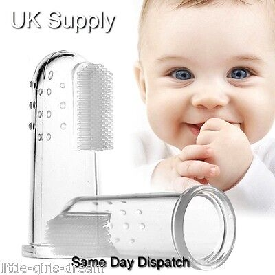 BABY TODDLER FINGER SOFT SILICONE TOOTHBRUSH ORAL TEETH GUM MASSAGER UK seller