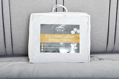 Luxury Quilted Egyptian 100% Cotton Mattress Protector Single Double King Super