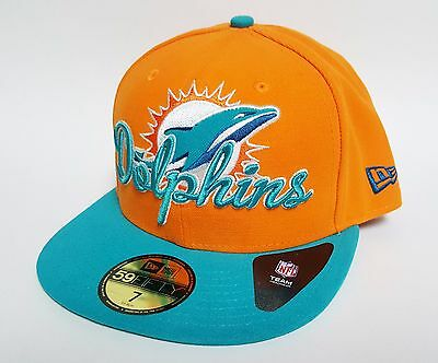 separation shoes 727a7 bf648 New Era 59FIFTY MIAMI DOLPHINS SCRIPT DOWN Hat Orange ( 36) Cap NFL Fitted  RARE