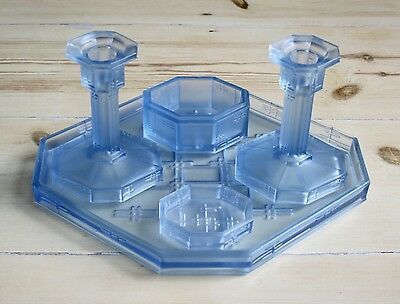 Beautiful Five Piece 1930/40'S Frosted Pale Blue Glass Dressing Table Set