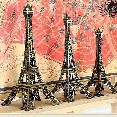 Vintage Alloy Bronze Tone Paris Eiffel Tower Figurines Statue Model Decor