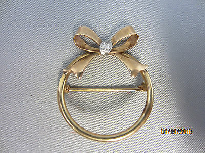 Vintage Mid-Century 10K yellow GOLD Modernist Bow Circle Pin Brooch 2.3 g