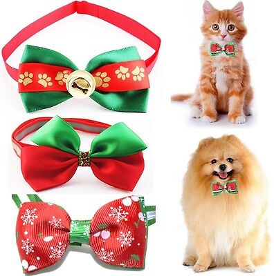 CHRISTMAS Cat & Dog Bow Tie Adjustable Bowtie Collar Pet Puppy Clothes Xmas Vest