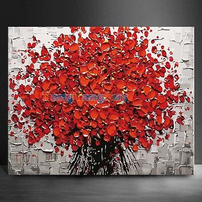 "16""x20"" Red Flowers Oil Painting Home Decor DIY Paint By Number Kit On Canvas"