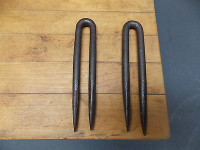Pair of antique forged wrought iron staples hitching post door hasp