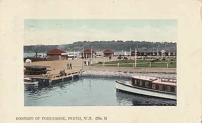Stamp 1d swan on 1908 portions of foreshore Perth Western Australia postcard