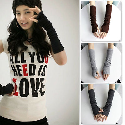 New Fashion Ladies Winter Soft Knitted Wool Arm Warmer Long Fingerless Gloves