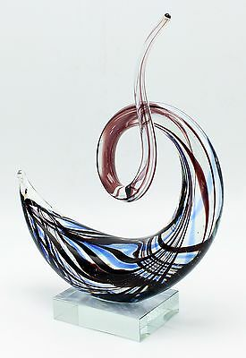 "New 9"" Hand Blown Art Glass Swirl Sculpture Figurine Statue Blue Black"