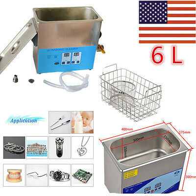 New 6 L Liter Industry Heated Ultrasonic Cleaner Heater  Stainless Steel w/Timer