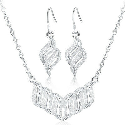 sterling Silver  Fashion wedding Women charms earring necklace set jewelry