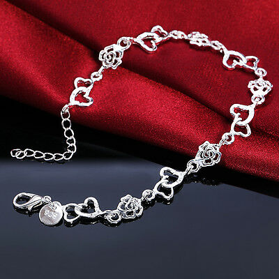 925 sterling Silver Plated Fashion wedding Woman Rose heart Bracelet jewelry