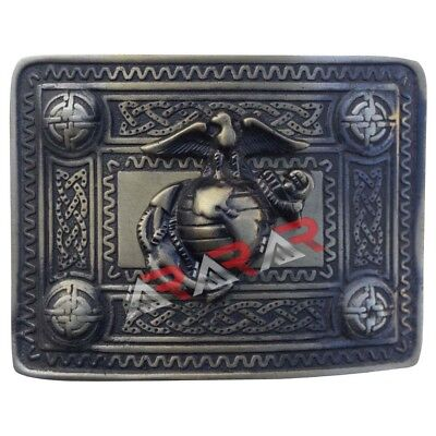 AAR Highland Kilt Belt Buckle with US Marine Brass Antique Finish Scottish