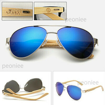 Personalized Engraving Bamboo Wood Mirrored UV400 Aviator Classic Sunglasses