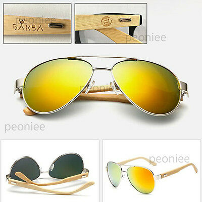 Personalized Engraving Bamboo Wood Gold Mirrored UV400 Aviator Sunglasses