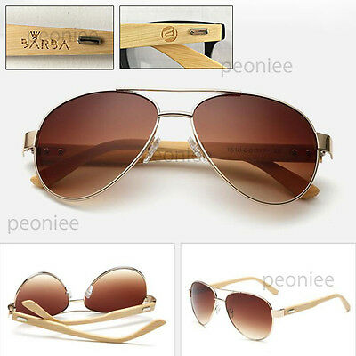 Personalized Engraving Bamboo Wood Tan Aviator Classic Sunglasses Groomsmen Gift
