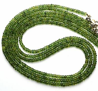 Natural Gem Super Quality Green Apatite 3.5MM Faceted Rondelle Bead Necklace 19""