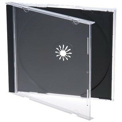 100 Standard 10mm Jewel CD Cases with BLACK Tray SINGLE Disc APC