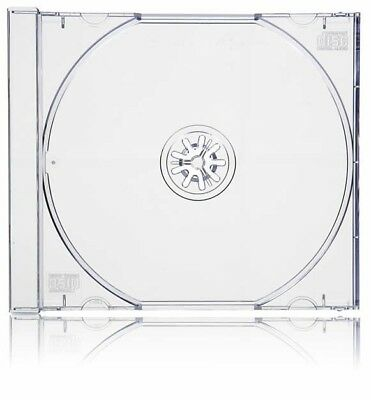 50 Standard 10mm Jewel CD Cases with CLEAR Tray SINGLE Disc APC