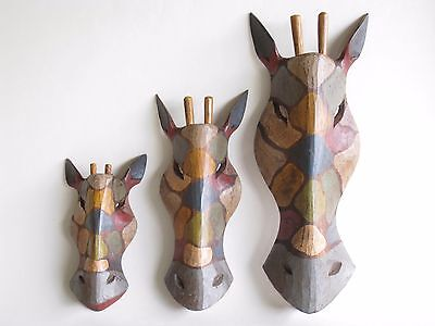 Wooden Hand Carved Rustic Giraffe Masks African Tribal Ethnic..Multi Listing