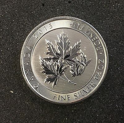 2015 $8 1 1/2 Canadian Silver Maple Suger Leaf .9999 Fine Silver Coin
