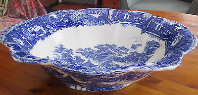 Victoria Ware Ironstone Very Large & Heavy Oval Bowl Blue And White
