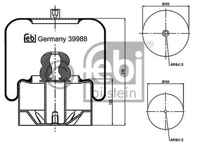New Febi Bilstien Truck Air Spring Genuine OE Quality Service Part No 39988