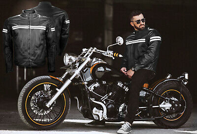 New Mens Motorbike Genuine Leather Waterproof Jacket Motorcycle CE Protection