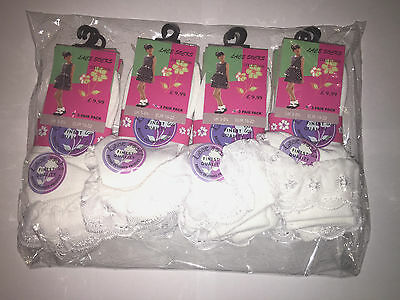 12 Pairs School Girls Lace Socks Frilly Ankle Socks Cotton Polyester White Sizes