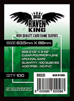 100 Sleeves RAVEN KING 63,5x88 Bustine Protettive Giochi Tavolo Buste standard