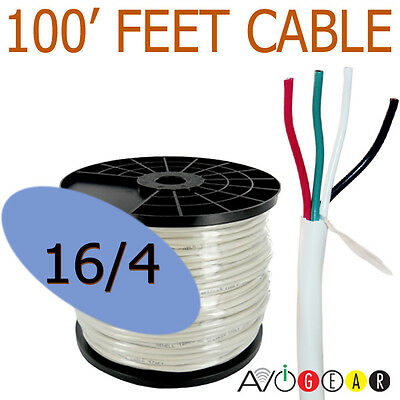 100 Feet 16/4, 16 Gauge 4 Conductor 99.99% Copper FT4 In-Wall Speaker Wire Cable