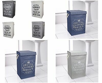 Deluxe Quality Fabric Laundry Hamper Basket Bin Washing Foldable With Lid 85 Ltr