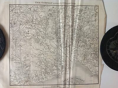 Old Original Antique Map, 'the Country Round Southampton' c1829 Very Rare