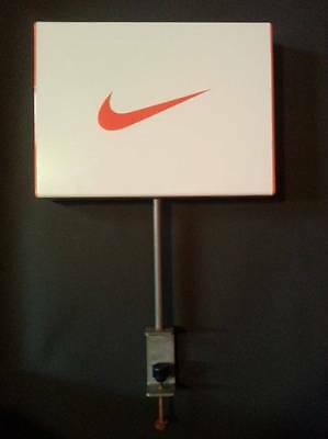 Nike Sign Advertising Acrylic Metal Retail Display Double Sided Shelf Swoosh